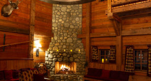 Heliskiing Canada - Albreda Lodge Fireplace